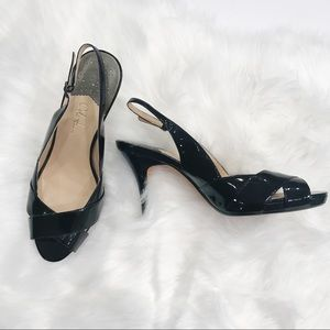 Cole Haan size 9 Nike Air black patent heels
